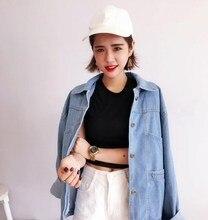 ba98942aaf4 Women Autumn Harajuku Light Blue Denim Jacket Solid Long Sleeve Pokect  Loose Jeans Jacket(China