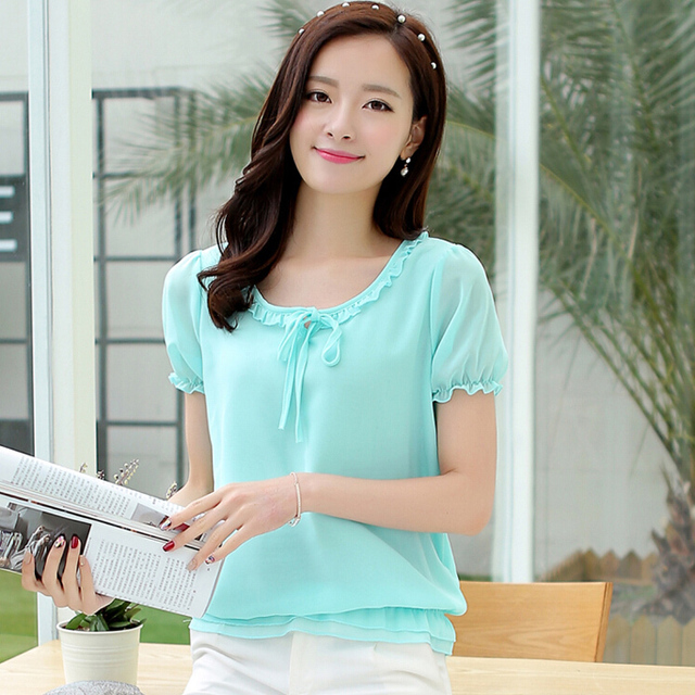 Green Summer Womens Chiffon Blouse Ladies Short Sleeve Shirts Plus Size 5XL Bow  Tie Ruffle Blusas Casual Shirts Workwear Tops 717e47fe5dfc