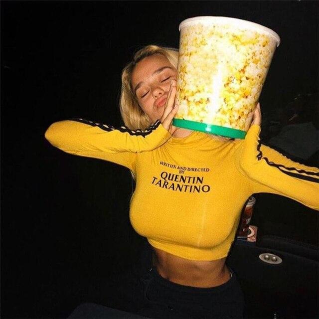 InstaHot 2018 Thời Trang Quentin Tarantino Sexy Crop Tops Phụ Nữ Bên Sọc Dài Tay Áo Cotton Cao Cổ Dệt Kim Ngắn áo thun