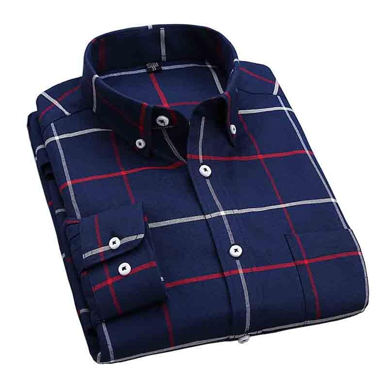 55ce63c09e Camisa New Fashion 2017 New Men Shirts Plaid Leisure Slim Fit Shirt ...