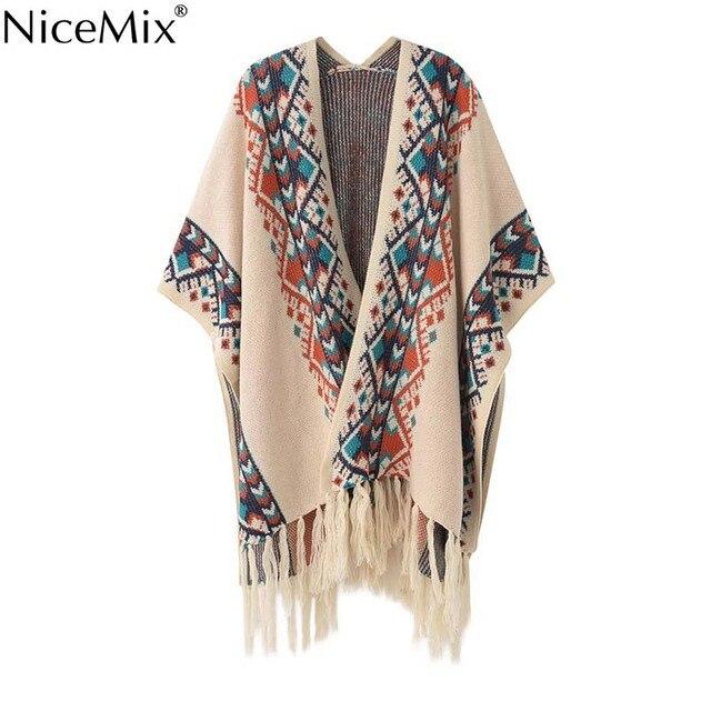 NiceMix 2016 Vintage Cardigan Women Poncho Cape Batwing Sleeve Tassel Sweater Women Casual Coats Female Cardigans Winter Outwear