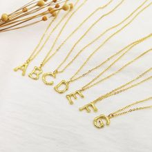 купить A-Z Fashion Personalized Capital Letter Corrugated Shape Alphabet Pendant Necklace Gold Color Chain Initial Necklaces For Women дешево