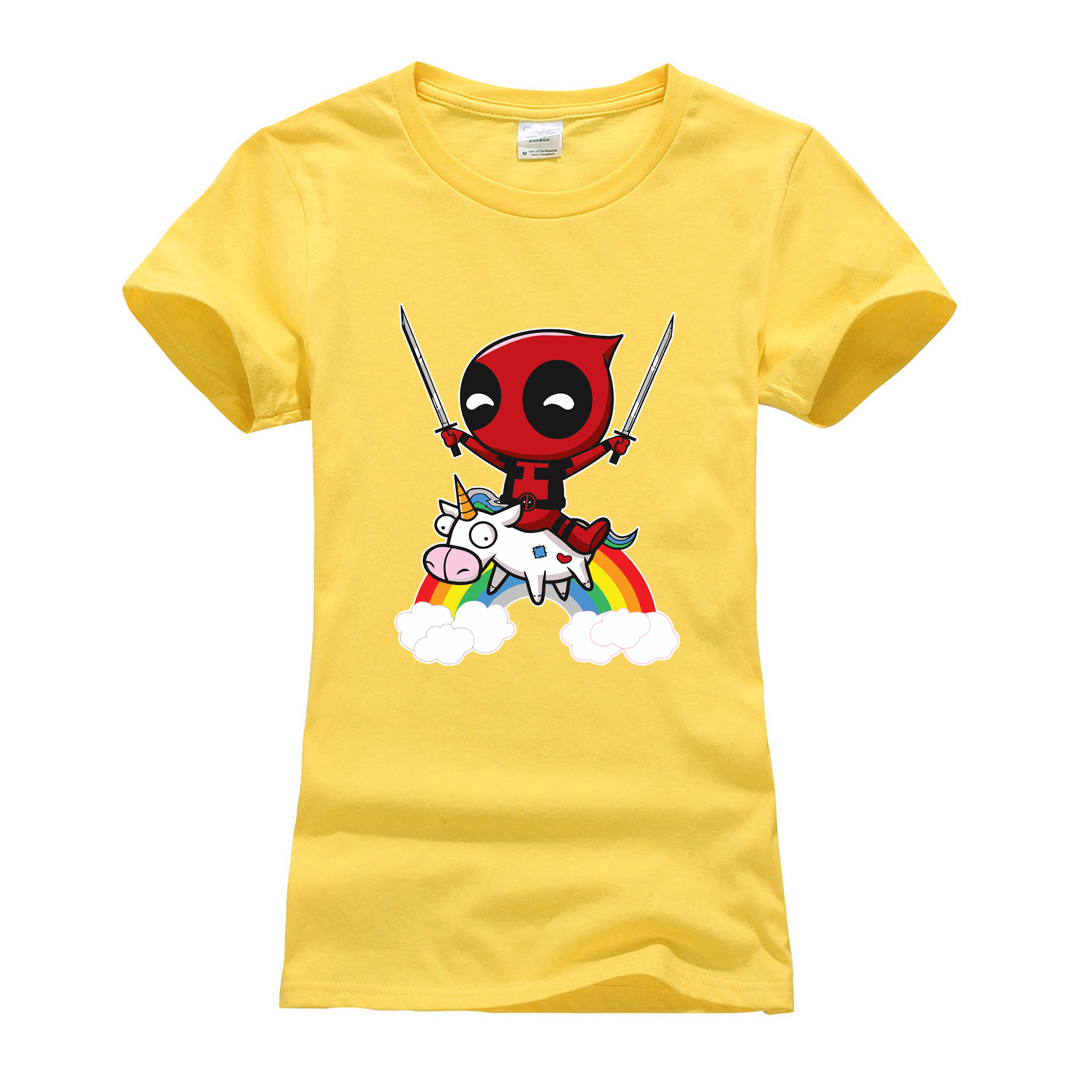 cotton o-neck harajuku t shirts cute deadpool novelty 2019 summer women short sleeve t-shirts cartoon camisetas tee shirt femme