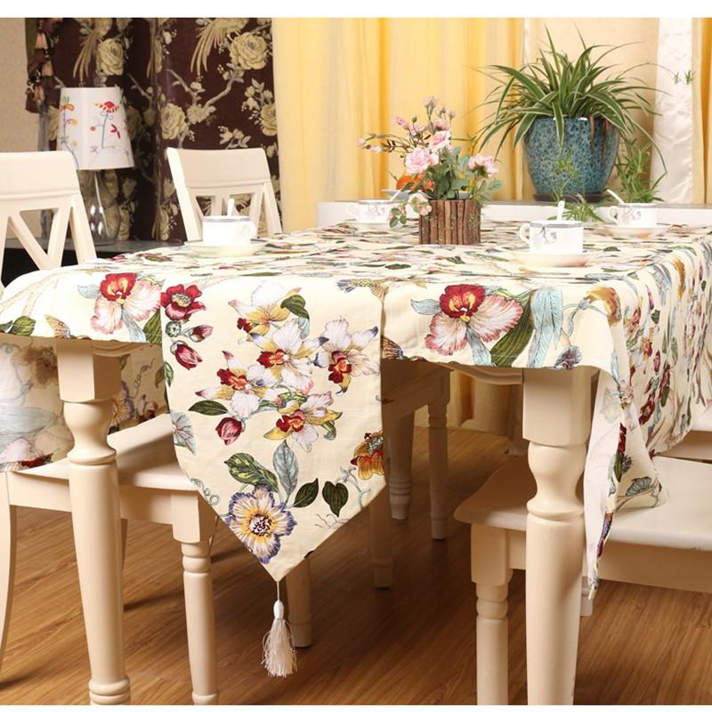 High End Fashion Flowers And Birds Printed Table Runner 32*180CM Home Decor Tablets For Plates 28*40cm Decoration Table Cloth ...