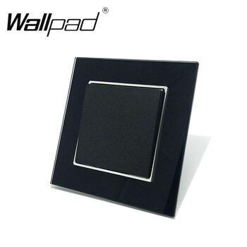 1 Gang Intermediate Lichtschakelaar Wallpad 110-250 V Zwart Glas EU Europese 1 Gang 3 Way Schakelaar met Clip Montage