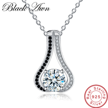[BLACK AWN] 925 Sterling Silver Fine Jewelry Trendy Engagement Necklaces for Women  Wedding Pendants P048