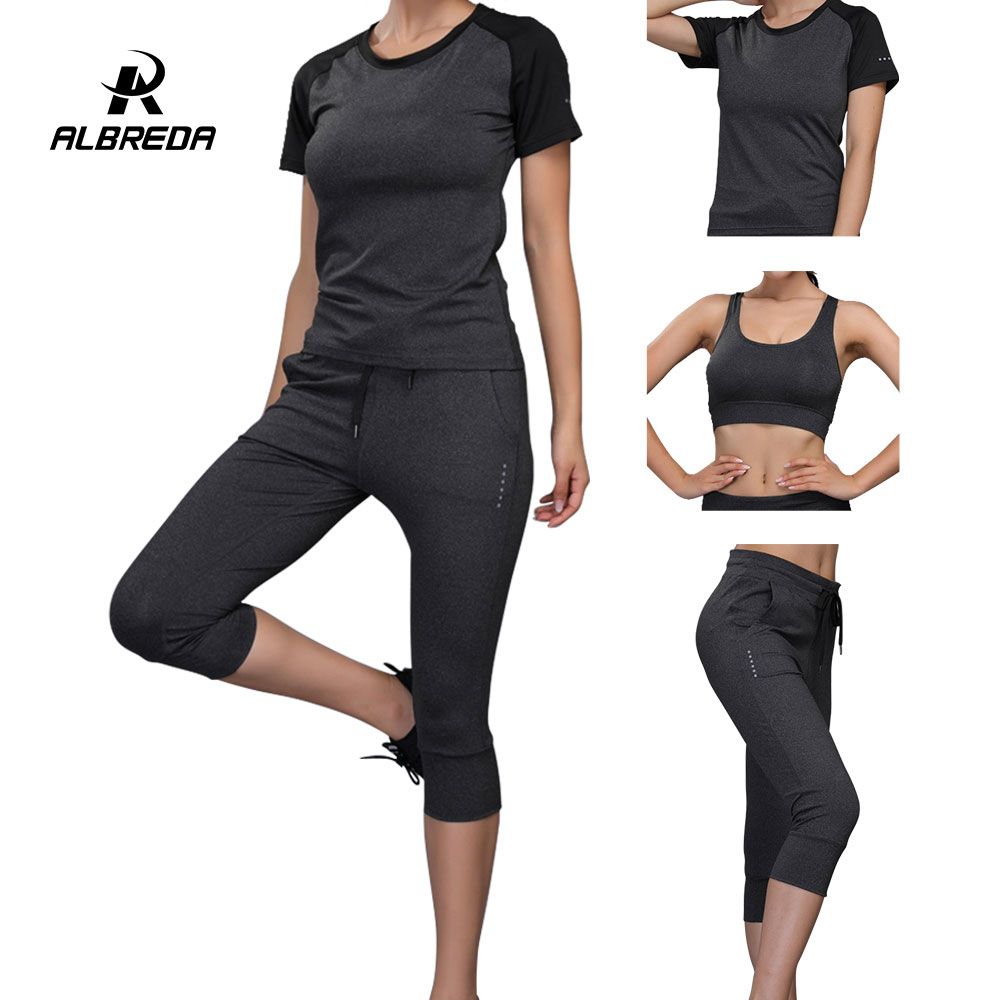 ALBREDA 3pcs Women Yoga Sport Set Female Short-sleeved pant Outdoor quick drying Sportswear Running Gym Sportswear Suit for lady