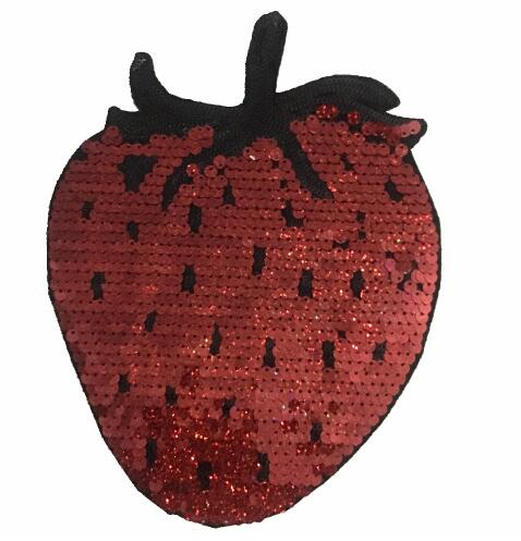 2Pcs sequins patch Strawberry DIY clothes patches for clothing Iron-on embroidered patch motif beaded applique crafts sticker