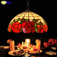 FUMAT 16 Inch Tiffany Lamp European Style Art Garden Flower Blooming Glass Lamp Living Room Hotel