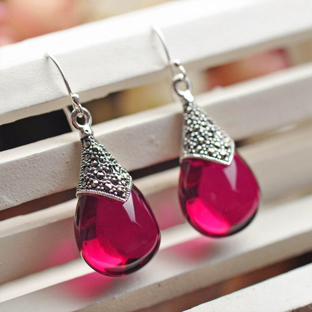 MetJakt Natural Corundum Water Drop Earrings with Zircon Solid 925 Sterling Silver Earring for Women Vintage Thai Silver Jewelry цена и фото