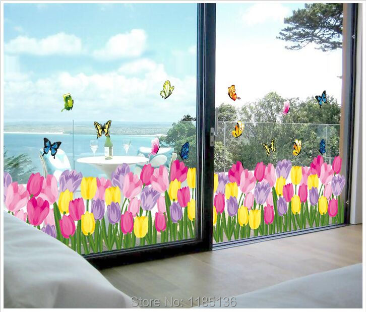 Tulips Flower Home Decor Kids Room Wall Decal Decorative Removable PVC Wall Sticker <font><b>H002</b></font> image