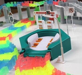 Mágico pista milagroso brillante carrera DIY accesorios universales rampa a Puente de carretera cruce plataforma rompecabezas de juguete