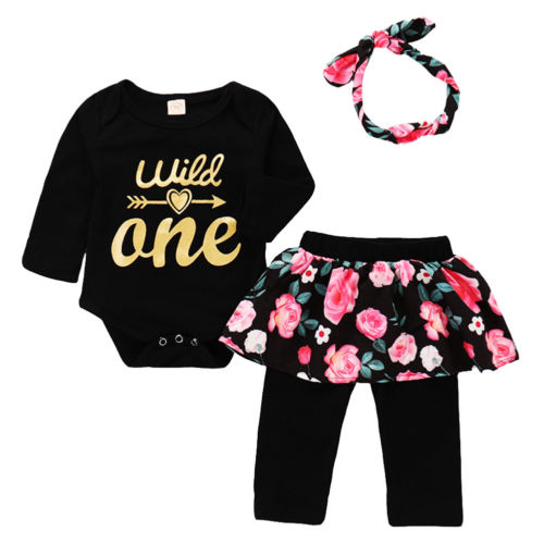 0-24M Newborn Infant Kid Baby Girls Clothes Cotton Long Sleeve Tops Bodysuit Floral Skirt Pants 3Pcs Set Outfits Baby Clothes