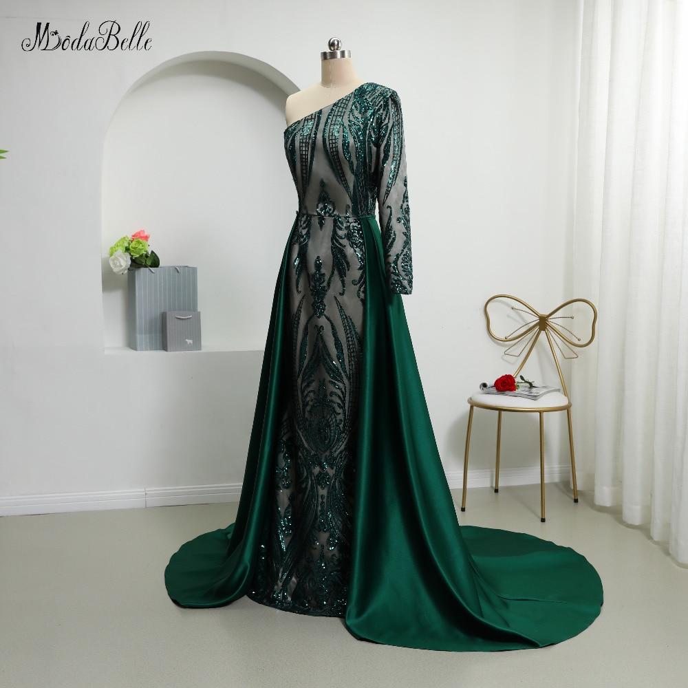 Modabelle 2019 Dark Green Sequin Avondjurken Met Afneembare Rok Saudi Arabië Een Schouder Luxe Plus Size Avondjurk - 4