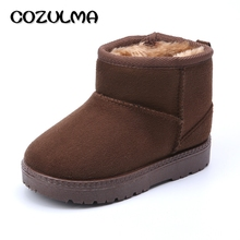 COZULMA Kids Winter Shoes Children Slip-On Warm Snow Boots Anti-Slippery Shoes Plush Thicker Boys Girls Snow Ankle Boots 4 Color