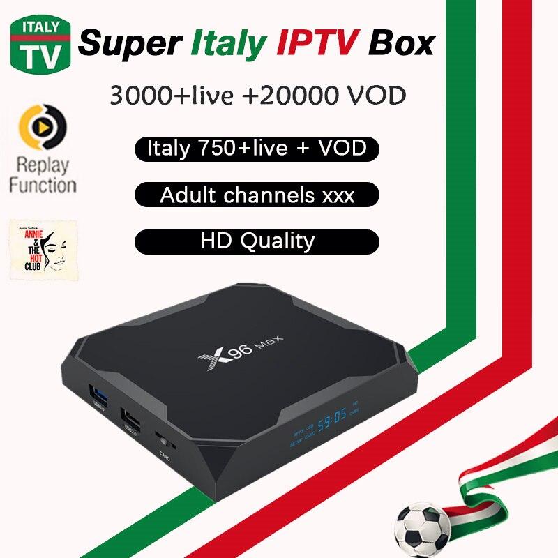 X96 最大アンドロイドテレビボックスアンドロイド 8.1 + スーパー iptv イタリアドイツ英国アルバニアフランススイスヨーロッパ iptv m3u スマートテレビ、 iptv ボックス  グループ上の 家電製品 からの セット トップ ボックス の中 1