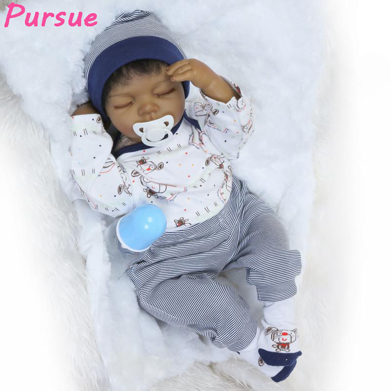 Pursue 22/55cm Pretty Cute Real Newborn Black Silicone Reborn Babies Doll 100% Handmade silicone-reborn-babies menina Close Eye