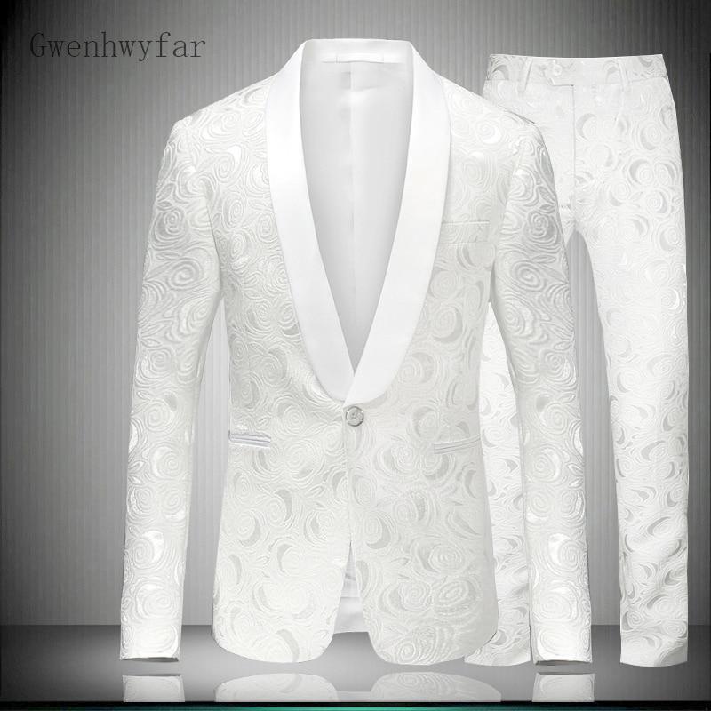 Blazer hombre 2018 Slim Fit para hombre Blazer Floral elegante traje de boda blanco para Hombre Ropa de escenario hombres traje esmoquin chaqueta con pantalones de 2 piezas-in Trajes from Ropa de hombre    1