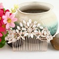 BELLA New 2015 Hot Rose Gold Plated Hair Jewelry For Bridal Flower Hair Comb Clear Austrian Crystal Headpiece Accessories