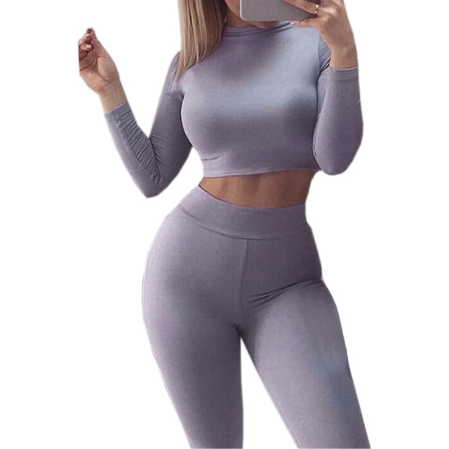 Sexy Skinny Pants Crop Top Women Sets Sportsuits Bodycon Outfits Set Tops Sexy Tracksuits 2