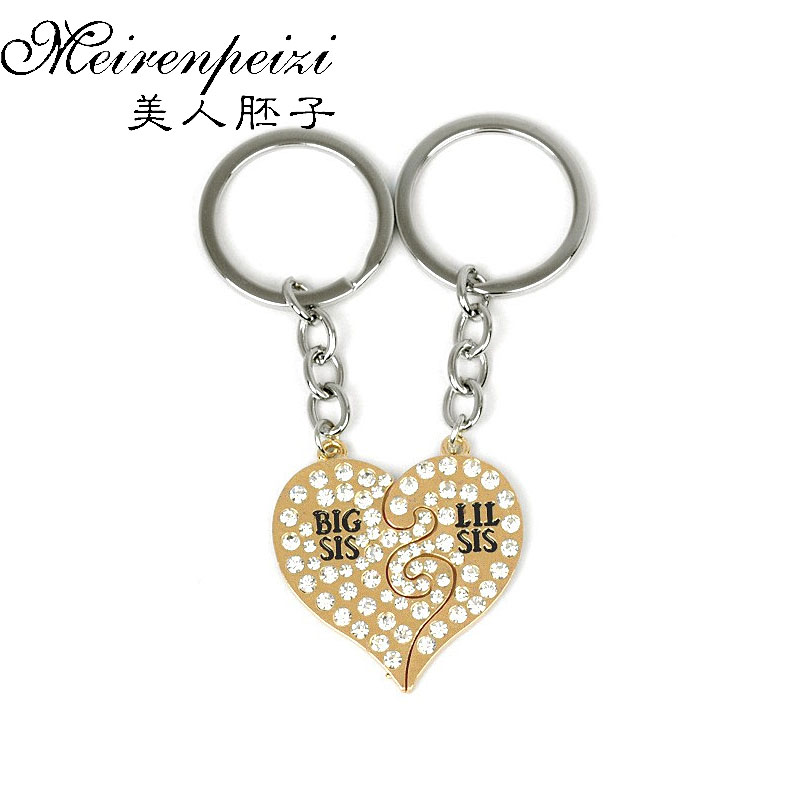 Family Sisters Keychain For 2 Big Sis Little Sis Broken Heart Puzzle Key Holder For Bags Rhinestones Jewelry Christmas Gifts