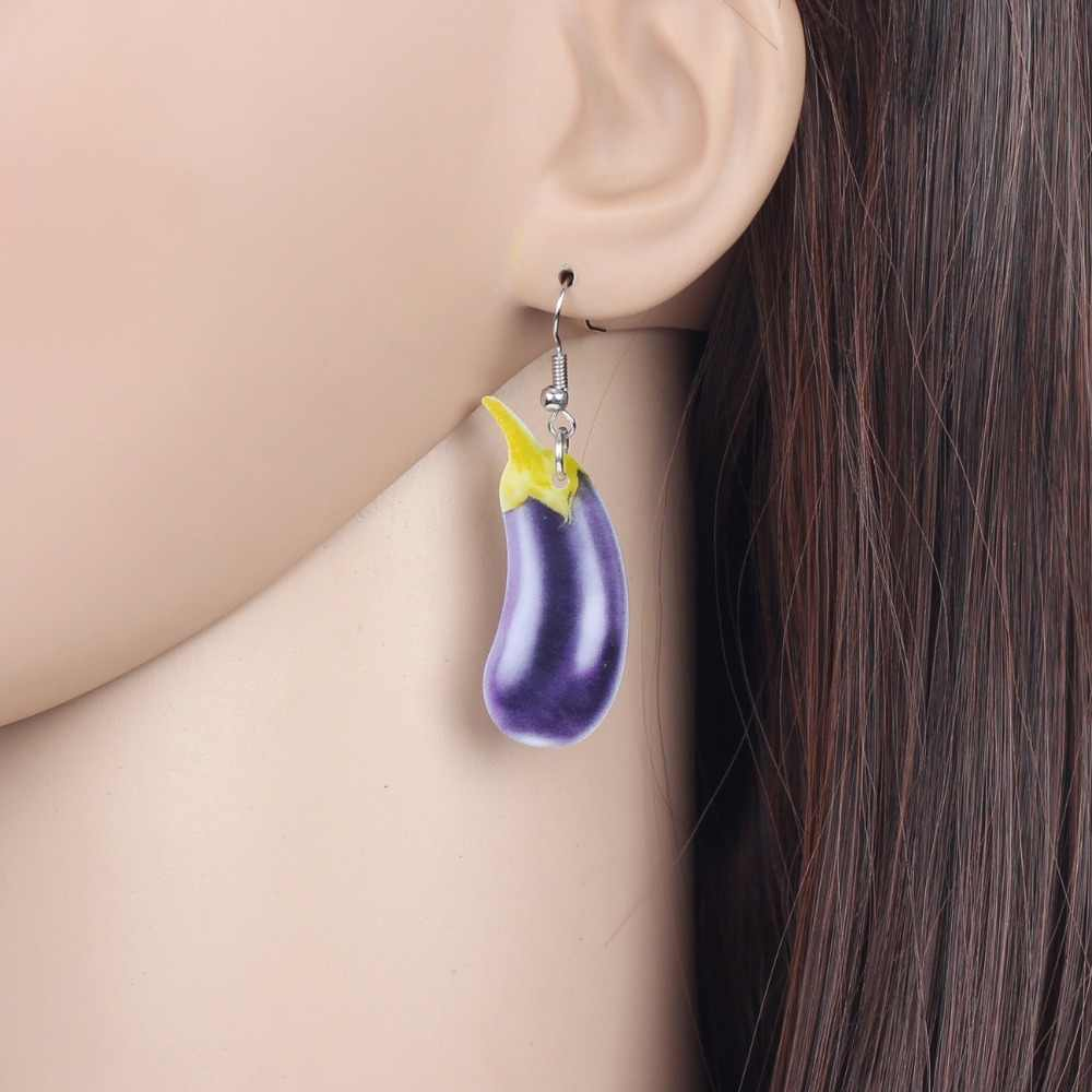WEVENI Acrylic Sweet Eggplant Aubergine Earrings Big Long Dangle Drop Vegetable Plant Jewelry For Women Girls Brincos Party 2018