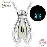 Srebrny Luminous Świecące w Ciemności Firefly Naszyjnik Dziewczyna 925 Sterling Silver Kamień Wisiorki i Naszyjniki Dla Kobiet Moda Biżuteria