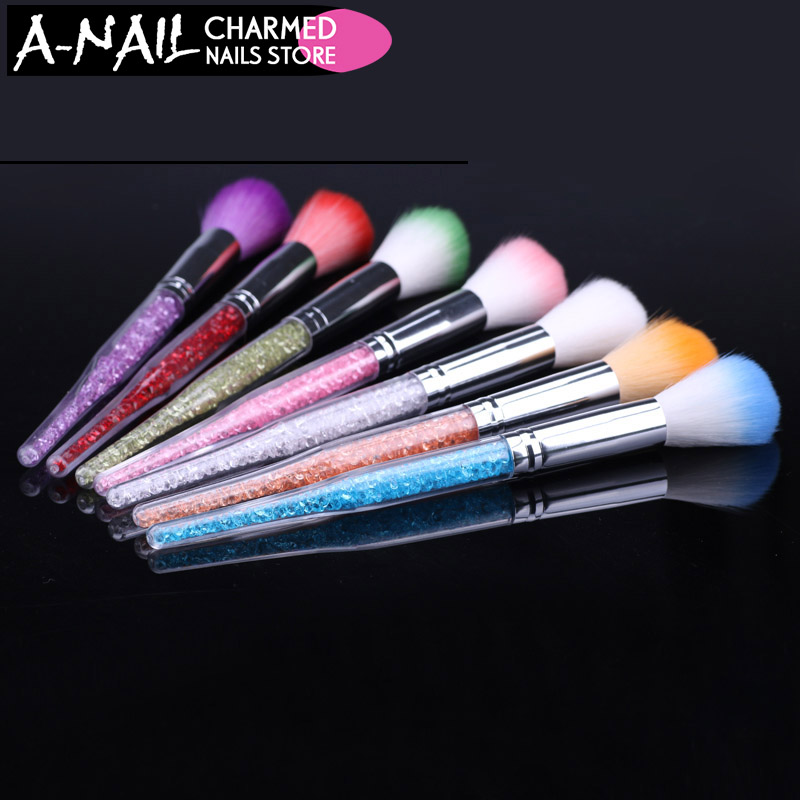1pc 7 Colors Nail Glitter Brush Dust Clean Acrylic UV Gel Powder Remover Rhinestone Handle Brushes For Nails Manicure Tools все цены
