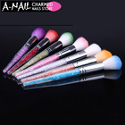 1pc 7 Colors Nail Glitter Brush Dust Clean Acrylic UV Gel Powder Remover Rhinestone Handle Brushes For Nails Manicure Tools