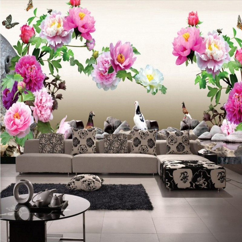 Custom 3D photo wallpaper Pigeon Peony flowers birds mural lobby hotel Living room backdrop wall paper murals custom baby wallpaper snow white and the seven dwarfs bedroom for the children s room mural backdrop stereoscopic 3d