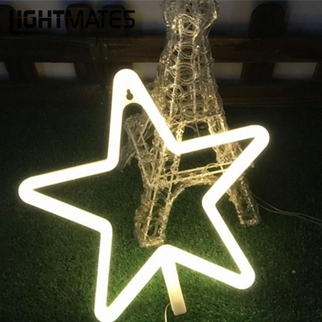 Lightmates Pentagon Led Nightlight Neon Lights Bedroom Garden Christmas Wedding Party Decoration Night
