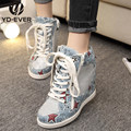 Denim casual shoes woman 2017 spring wedge canvas shoes height increasing platform star outdoor female leisure shoes