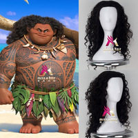 MENS Moana Prince men Maui wig Black Fluffy Long Hair Cosplay Curly Wig with Hair net Maui costumes