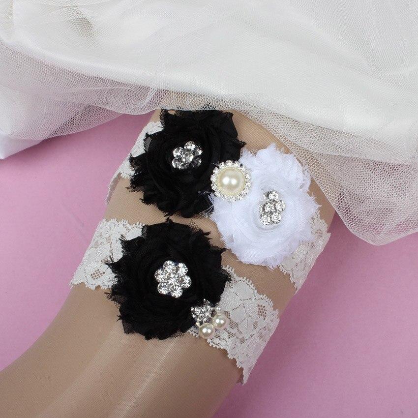 Vintage Lace Wedding Garter Set: New Vintage Bridal Black Chiffon Flowers Lace Garter Set