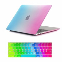 b74403c68c826 2 In 1 Rainbow Style Rubberized Crystal Case With Silicone Keyboard Cover  For Apple MacBook Pro