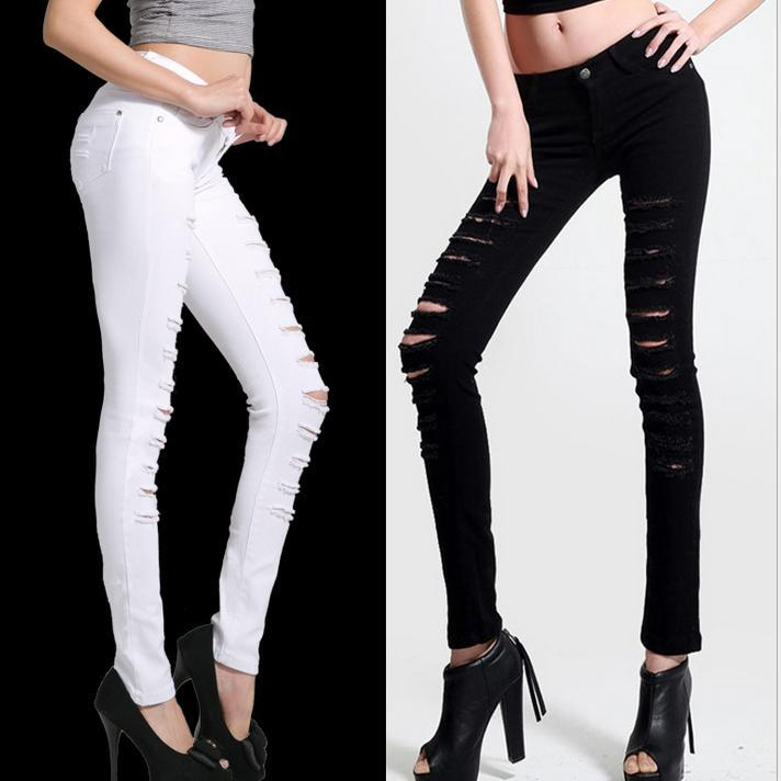 Hot Fashion ladies Cotton Denim Ripped Punk Cut-out Women Sexy Skinny pants Jeans Leggings plus size Trousers Black / White