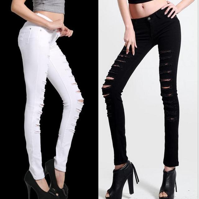 Hot Fashion ladies Cotton Denim Ripped Punk Cut-out Women Sexy Skinny pants Jeans Leggings plus size Trousers Black / White