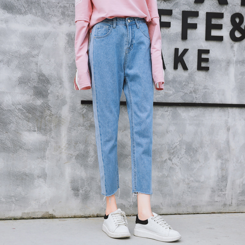 New Side Stitching Jeans Woman Korean Style Wash Cowboy Nine Part Pants Mama Vaqueros Rotos Mujer