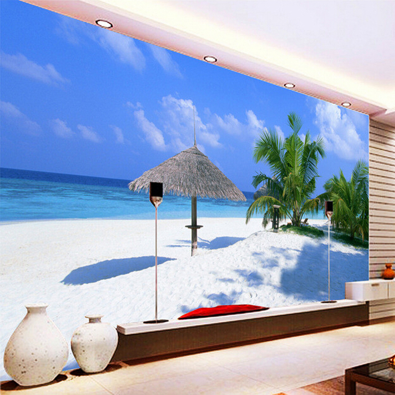 Custom 3D Photo Wallpaper Modern Beach Seascape Living Room Bedroom TV Background Decor Wall Mural Wallpaper Papel De Parede 3D custom 3d photo wallpaper waterfall landscape mural wall painting papel de parede living room desktop wallpaper walls 3d modern