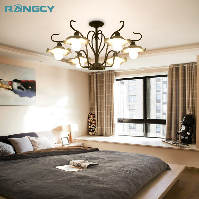 American Village wrought iron metal E27 lamp holder chandelier for living room bedroom dining room LED bulbs AC 100-240V zx hot sale solid wood iron nut e27 led chandelier height adjustable for dining room bar bedroom