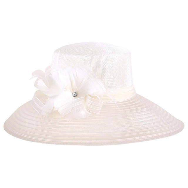 fecef0e6fa967 placeholder FS Women White Floral Summer Large Wide Brim Linen Kentucky  Derby Hats For Women Church Hats