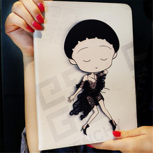 Cute girl dressed up pattern leather cover for ipad 2 3 4 common character tablet case brand quality with package