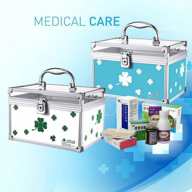 Алюминиевый сплав небольшой семейной медицины коробка Корейский аптечку с замком ящик домашняя аптечка