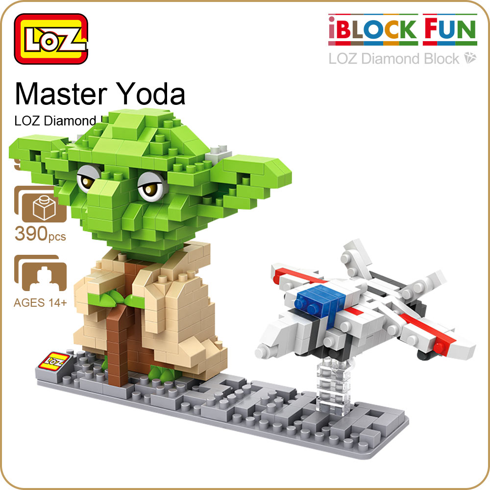 LOZ Diamond Blocks Jedi Master Yoda Action Figure Black Series Brick Simulation Model Toys Kids DIY Alien Figuring Aircraft 9530 new gundam action figure model diamond building blocks loz 15cm 6 pcs set toys for children 9