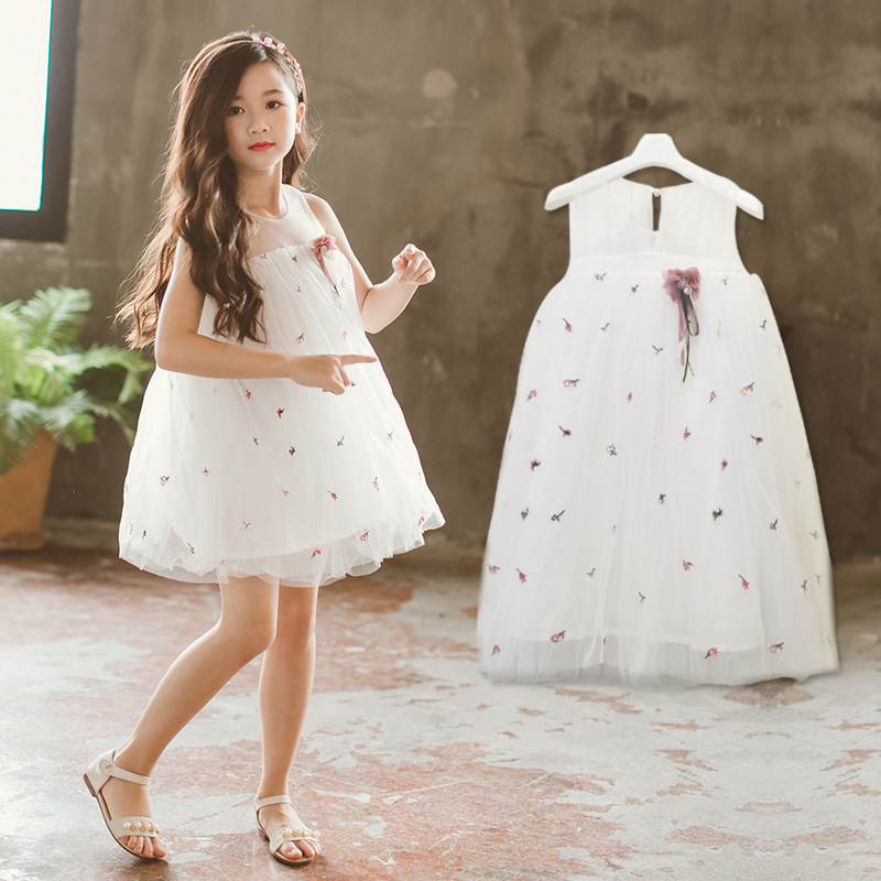 Lace Flower Evening Gown Embroidery Flower Princess Dress Girls Children Kids Dresses for Girl Clothes Tutu Party Dress CA008 girls long formal dress 2017 flower girls princess dresses kids lace vintage evening party ball gown children s wedding dress
