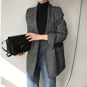 Image 1 - CBAFU automne printemps veste femmes costume manteaux plaid outwear décontracté col rabattu vêtements de bureau travail piste vestes blazer N785