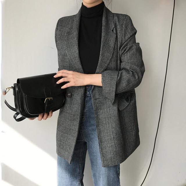 CBAFU automne printemps veste femmes costume manteaux plaid outwear décontracté col rabattu vêtements de bureau travail piste vestes blazer N785