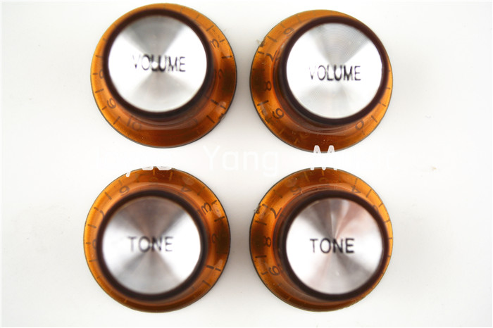 1 Set of 4pcs Brown Silver Reflector Volume Tone Electric Guitar Knobs For LP SG Style Electric Guitar Free Shipping Wholesales набор hauser triangle шариковая ручка механический карандаш черный 1287297