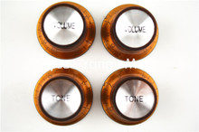 1 Set of 4pcs Brown Silver Reflector Volume Tone Electric Guitar Knobs For LP SG Style Electric Guitar Free Shipping Wholesales