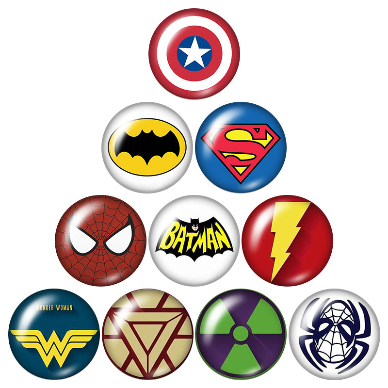 Ironman Batman Spiderman super heroes 10pcs mixed 12mm/18mm/20mm/25mm Round photo glass cabochon demo flat back Making findingsIronman Batman Spiderman super heroes 10pcs mixed 12mm/18mm/20mm/25mm Round photo glass cabochon demo flat back Making findings